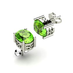 Peridot 1.90ctw Earring 14kt White Gold
