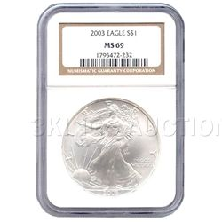 Certified Uncirculated Silver Eagle 2003 MS69