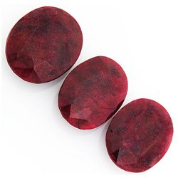 161.18ctw Ruby Oval Cut Loose Gemstone lot of 3