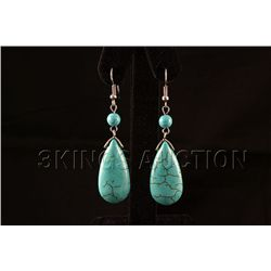 41.97ctw Dangling Blue Turquoise Silver Earring