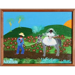Maelo, Groom leading Bride on Mule, Acrylic Painting
