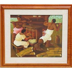 Jaimendes, Grinding Sugar Cane, Oil Painting
