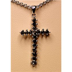 Beautiful Silver Blue Sapphire Cross Pendant