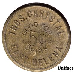 Thos. Chrystal Token MT - East Helena,Lewis and Clark County - c1890 - Tokens