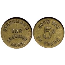 Stockman's Bar Token MT - Glendive,Dawson County -  - Tokens