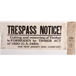 Mining Broadside on Cloth & Tamping Bag NJ - , -  -