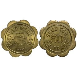 Peoples Merc. Co. 50 Cents UT - Bicknell,Tokens