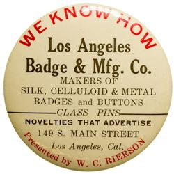 Los Angeles Badge & Mfg. Co. Advertising Mirror CA - Los Angeles, -  -