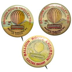 Pacific Electric Railway Balloon Route Excursion Trolley Trip Advertising Pins Group CA - Los Angele