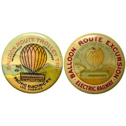 Pacific Electric Railway Balloon Route Excursion Trolley Trip Advertising Pins Group 2 CA - Los Ange