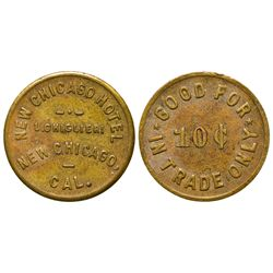 New Chicago Hotel Token CA - New Chicago,Amador County - 1910 -