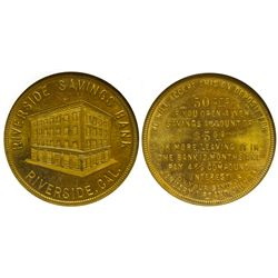Riverside Savings Bank CA - Riverside,Riverside County - c1900-1920 - Tokens