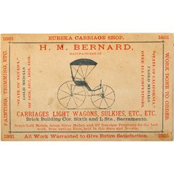 Carriage Shop Business Card CA - Sacramento,Sacramento County - 1881 - Americana/Paper/Ephemera