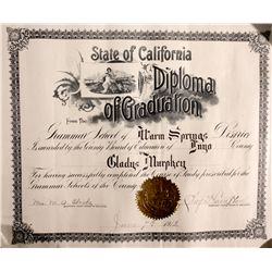 1912 Grammar School Diploma CA - Warm Springs,Inyo County - 1912 - 2012aug - General Americana