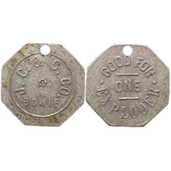 Unlisted Juanita Coal and Coke Token CO - Bowie, - c1906 -