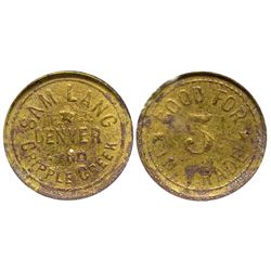 Sam Lang Token CO - Denver & Cripple Creek, - c1904 -