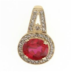 5.0 Ctw. Ruby & Diamond Pendant In 10ky Gold