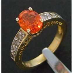 2.50 Ctw Diamond & Created Orange Sapphire Ring