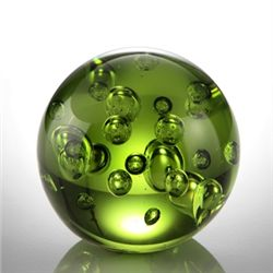 Art Glass Green Bubble Sphere 3.5  Dia