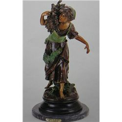 Woman With Wood  Bronze Sculpture - A. Moreau