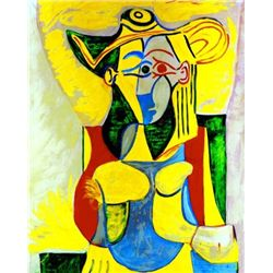 Picasso  Seated Woman With Yellow And Green