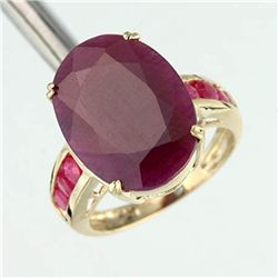 6.0 Ct. Ruby Ring - Oval Cut - 10ky Gold