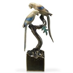 Parrots On Branch Bronze Sculpture