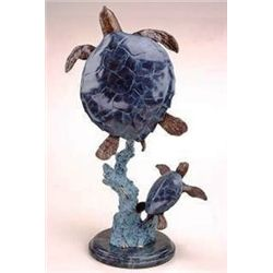 Mother & Baby Sea Turtles Bronze Sculpture