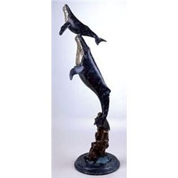 Double Whales Bronze Sculpture