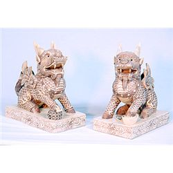 Older Hand Carved Lions - Intricate - Mint