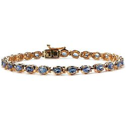 4.59 Carat Genuine Tanzanite 14K Yellow Gold Plating .925 Sterling Silver Bracelet