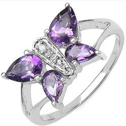 1.25 Carat Genuine Amethyst & Diamond .925 Sterling Silver Ring