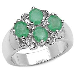 2.93 Carat Genuine Peridot & White Topaz .925 Sterling Silver Ring