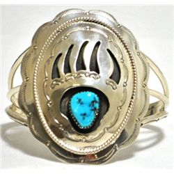 Navajo Turquoise Sterling Silver Bear Paw Cuff Bracelet - Running Bear