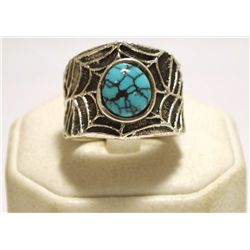 Navajo Spider Web Turquoise Sterling Silver Tufacast Men's Ring - Philander B Begay