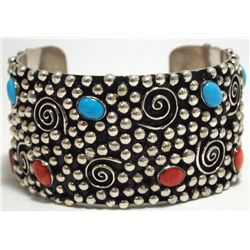 Dead Pawn Navajo Spiny Oyster & Turquoise Sterling Silver Cuff Bracelet - Silver Ray