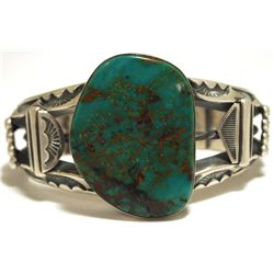 Old Pawn Navajo Stormy Mountain Turquoise Sterling Silver Cuff Bracelet - Mara Antia