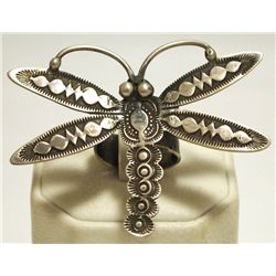 Old Pawn Navajo Sterling Silver Dragonfly Adjustable Women's Ring - Vince J Platero