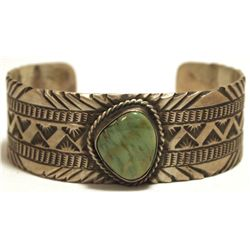 Old Pawn Navajo Green Turquoise Sterling Silver Cuff Bracelet - LM