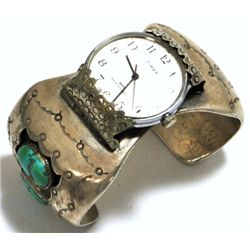 Old Pawn Turquoise Sterling Silver Cuff Bracelet Women's Watch with Timex Face