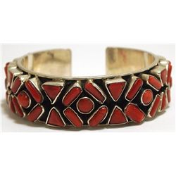 Old Pawn Navajo Coral Cluster Sterling Silver Cuff Bracelet
