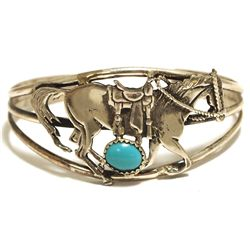 Old Pawn Navajo Turquoise Sterling Silver Horse Cuff Bracelet