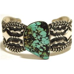 Old Pawn Navajo Spider Web Turquoise Sterling Silver Cuff Bracelet - Mara Antia