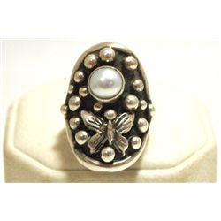 Navajo Pearl Sterling Silver Butterfly Women's Ring - Shakey