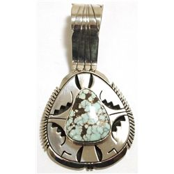 Navajo Dry Creek Turquoise Sterling Silver Pendant - Eugene Belone