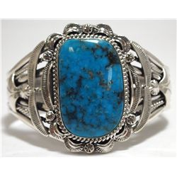 Navajo Morenci Turquoise Sterling Silver Cuff Bracelet - Mary Ann Spencer