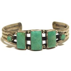 Old Pawn Navajo Green Turquoise Sterling Silver Cuff Bracelet - BV
