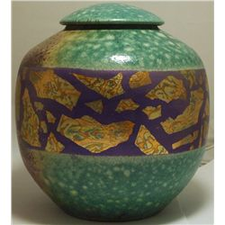 Raku Painted & Glazed Pottery with Lid - Rick Loewenkamp