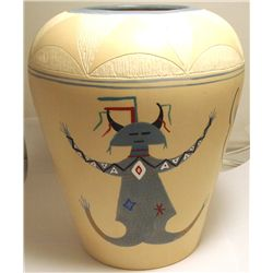 Hopi Multi Kachina Design Etched & Painted Pottery - J Robertson