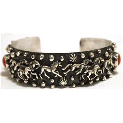 Old Pawn Navajo Coral Sterling Silver Horses Cuff Bracelet - Emer Thompson